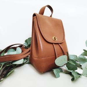 Vintage Coach Brown Tan Leather Backpack